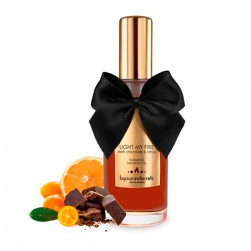 Óleo de Massagem Com Efeito Calor Light My Fire Bijoux Indiscrets Chocolate Preto e Citrinos 100 ml