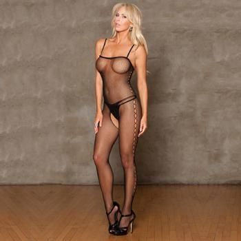 Catsuit Black Fishnet Sleeveless